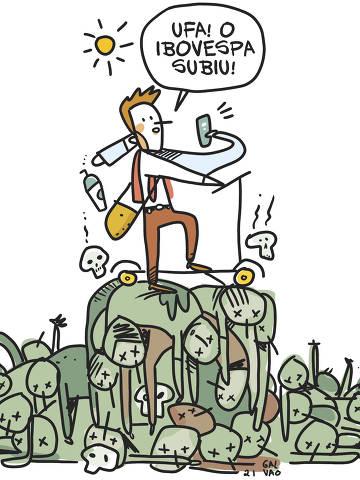 Ilustração de Galvão Bertazzi para a coluna de Flávia Boggio de 4 de março de 2021