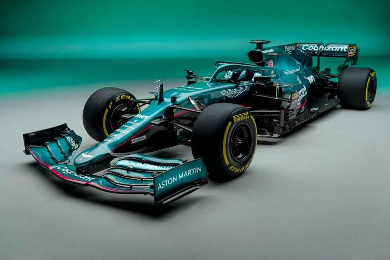 Aston Martin modelo AMR21, com o qual Sebastian Vettel e Lance Stroll correrão na temporada 2021 da F1