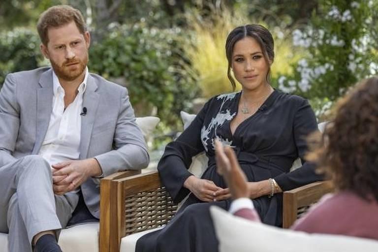 Entrevista de Meghan e Harry à apresentadora Oprah, exibida na noite deste domingo (7) nos EUA