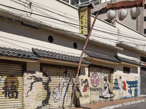Sao Paulo, SP, BRASIL, 29-04-2020:  ***Esp FOLHA. Ruas Comerciais Fechadas***   Restaurante japones  Yamamoto fechado  na rua Americo de Campos no bairro Liberdade.    (Foto: Eduardo Knapp/Folhapress, MERCADO).