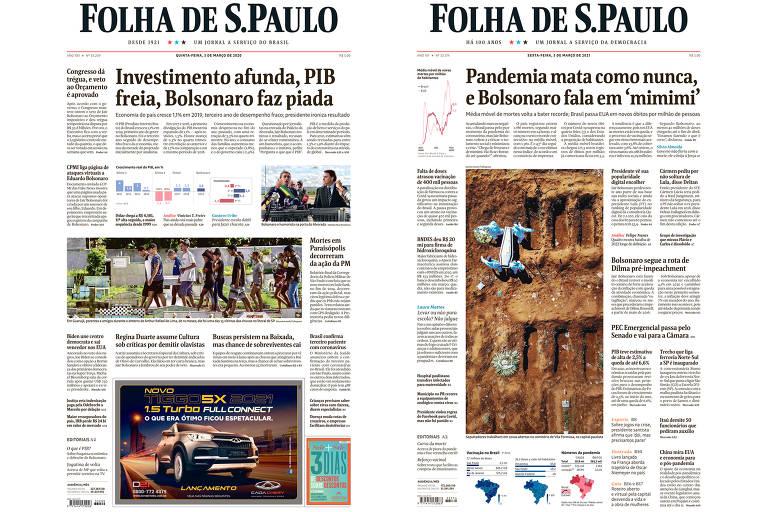à esquerada, primeira página da Folha de 5 de março de 2020 tem como manchete Investimento afunda, PIB freia, Bolsonaro faz piada; do outro lado, a capa de hoje tem como manchete Pandemia mata como nunca, e Bolsonaro fala em mimimi