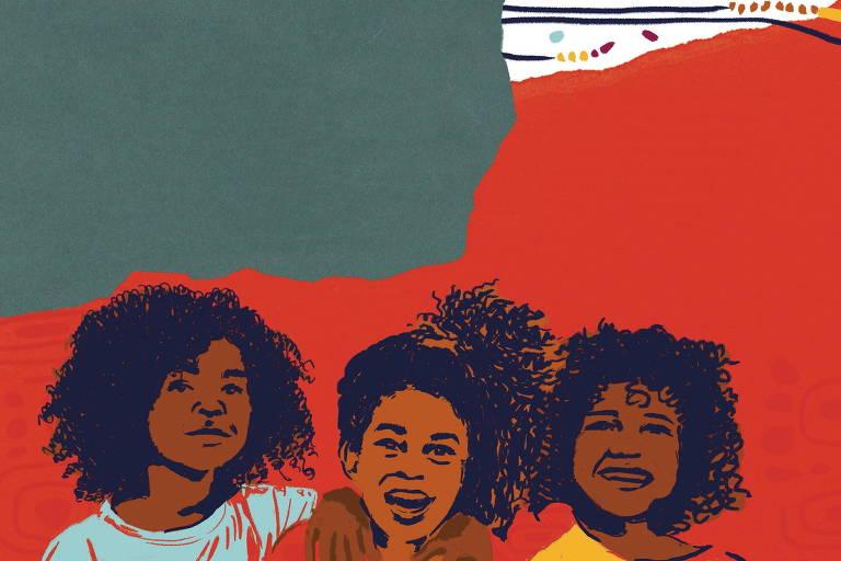 Três meninas negras estão abraçadas e sorrindo
