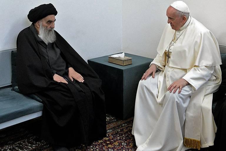 Papa se reúne com principal líder xiita no Iraque, que fala em paz aos cristãos em encontro histórico