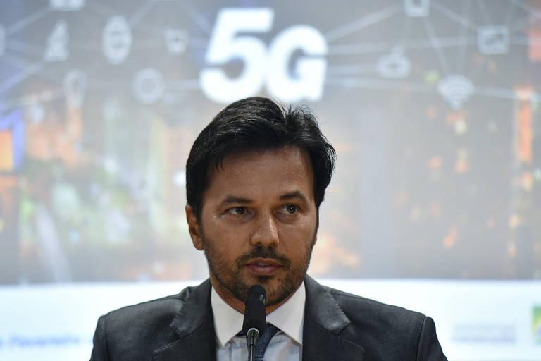 O ministro das Comunicações, Fábio Faria (PSD-RN), no auditório da Anatel, em Brasília