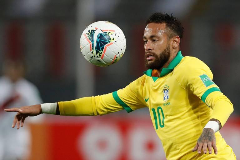 Neymar durante partida contra o Peru, pelas eliminatórias da Copa, em 2020