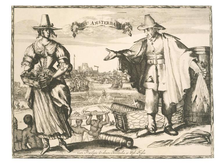 """Gravura em cobre datada entre 1624 e 1699 reproduzida no livro """"Arrancados da Terra"""", de Lira Neto, que mostra colonos neerlandeses, cultivadores de tabaco em Nova Amsterdã"""