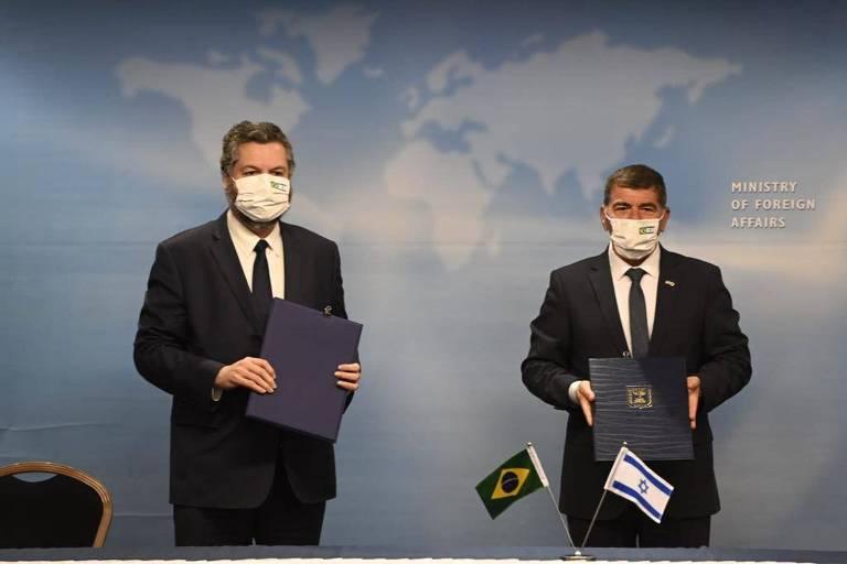 IO ministro das Relações Exteriores, Ernesto Araújo, durante compromissos de agenda em Israel para tratar de  parcerias  para o desenvolvimento de vacinas e remédios para combater a pandemia