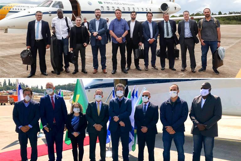 (NA FOTO ACIMA) Embarque de integrantes da comitiva Brasileira de Cooperação Científica Brasil - Israel, sem mascara. >>>>   (NA FOTO A BAIXO ) Os mesmos integrantes acompanhados de oficiais Israelenses usando mascaras