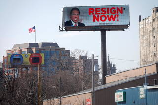 Electronic billboard displays message for New York Governor Andrew Cuomo to
