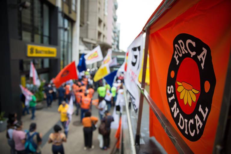 Ato organizado pelas principais centrais sindicais do país, em 2020; ex-presidentes mandam mensagem para Força Sindical
