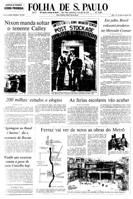 Primeira Página da Folha de 2 de abril de 1971