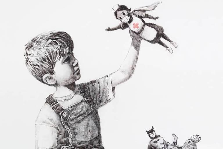 Obra de Banksy será leiloada para ajudar profissionais de saúde britânicos