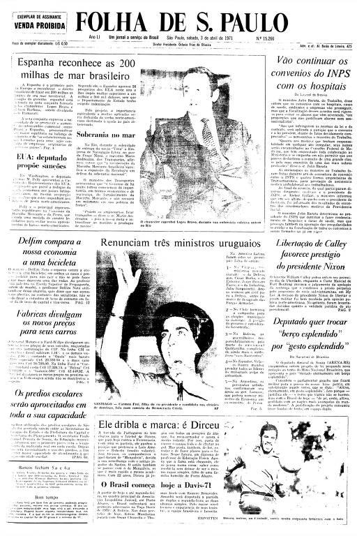 Primeira Página da Folha de 3 de abril de 1971
