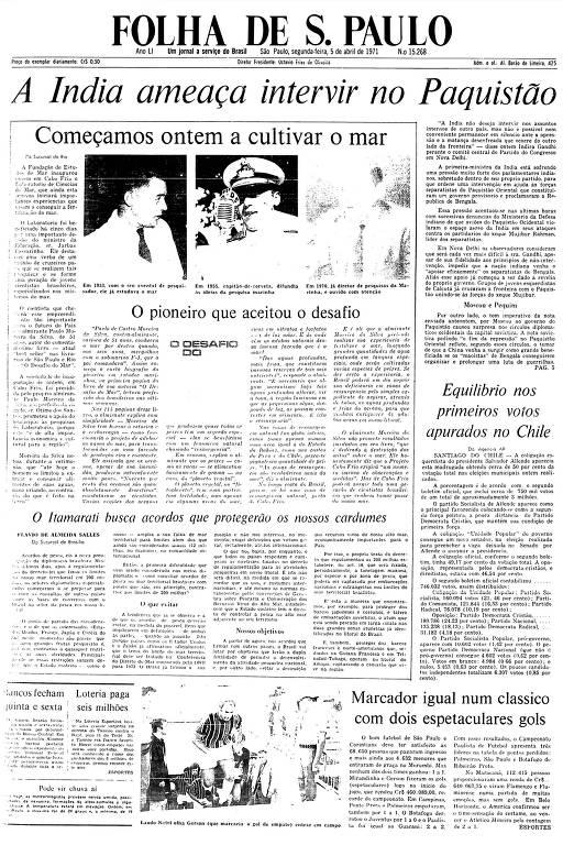 Primeira Página da Folha de 5 de abril de 1971