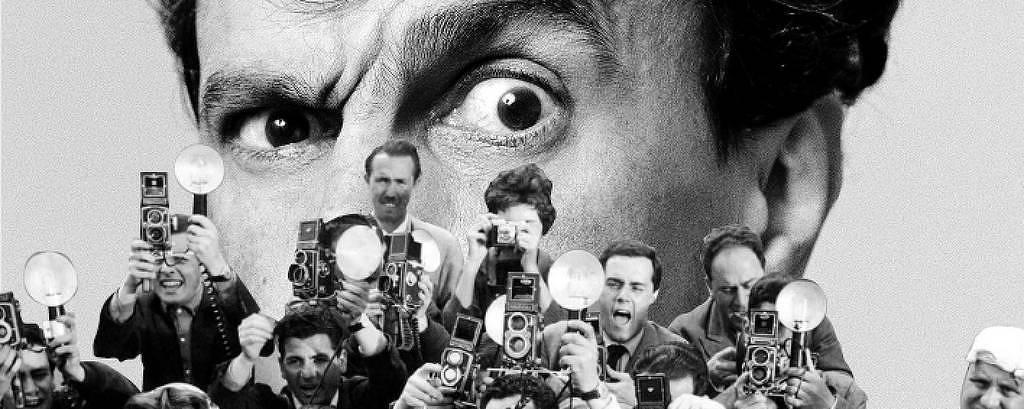 Colagem com Caetano Veloso e paparazzi