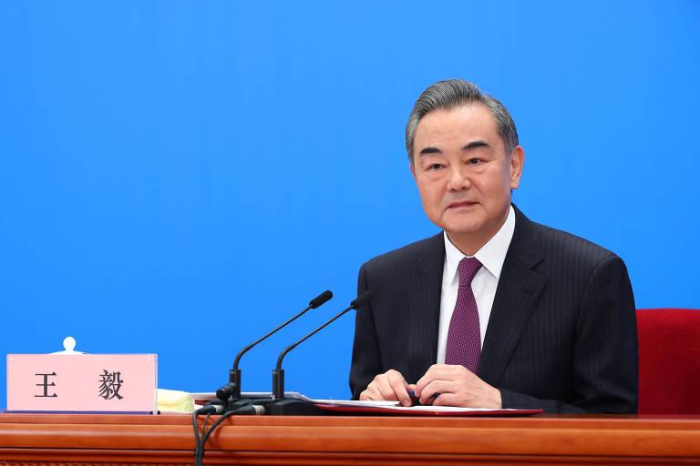 O ministro das Relações Exteriores da China, Wang Yi, durante entrevista coletiva anual da pasta