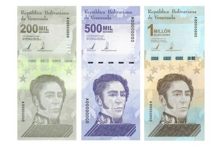 Novas notas de 200 mil, 500 mil e 1 milhão de bolívares