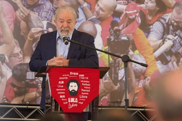 O ex-presidente Lula em fala em São Bernardo do Campo