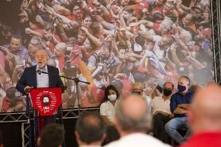Lula faz pronunciamento no Sindicato dos Metalúrgicos de São Bernardo