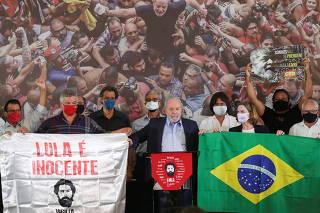 Brazil's former President Lula attends a news conference in Sao Bernardo do Campo