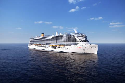 O navio Costa Toscana, o maior da empresa, que será inaugurado no Brasil, na temporada 2021/2022