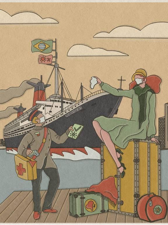 Ilustração de mulher em cima de malas, com máscara, dando adeus para navio que parte no mar