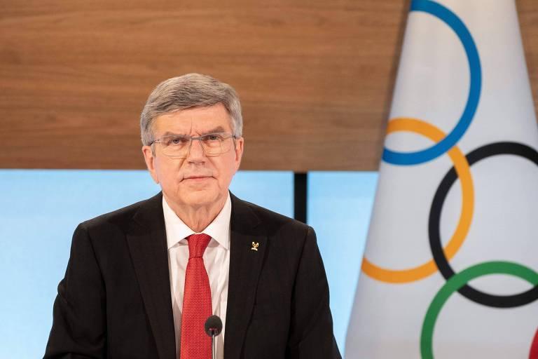 Thomas Bach em sessão virtual do COI com os comitês olímpicos nacionais