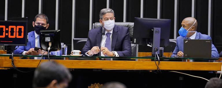 Presidente da Câmara, Arthur Lira (PP-AL), em Sessão Extraordinária Deliberativa do Plenário