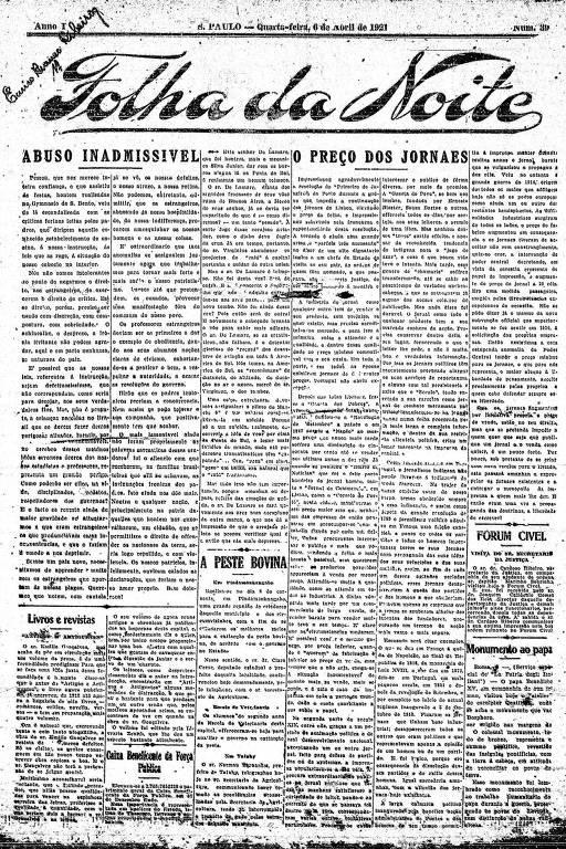 Primeira Página da Folha da Noite de 6 de abril de 1921