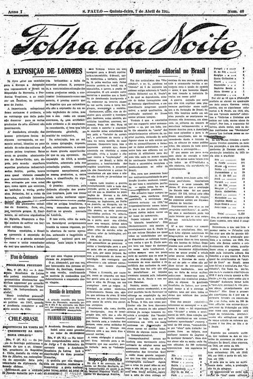 Primeira Página da Folha da Noite de 7 de abril de 1921