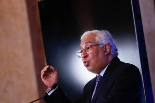 Portugal's Prime Minister Antonio Costa gestures during a news conference