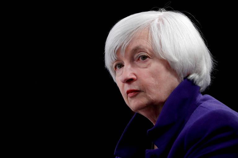A secretário do Tesouro americano, Janet Yellen, durante encontro em Washington