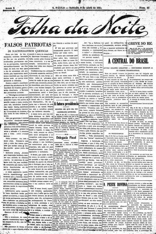 Primeira Página da Folha da Noite de 9 de abril de 1921