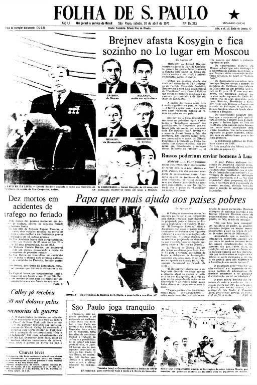 Primeira Página da Folha de 10 de abril de 1971