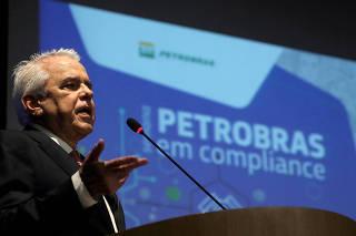 FILE PHOTO: Petrobras CEO Roberto Castello Branco speaks at a compliance event in Rio de Janeiro