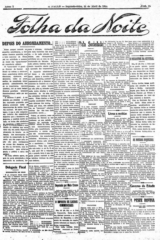 Primeira Página da Folha da Noite de 11 de abril de 1921
