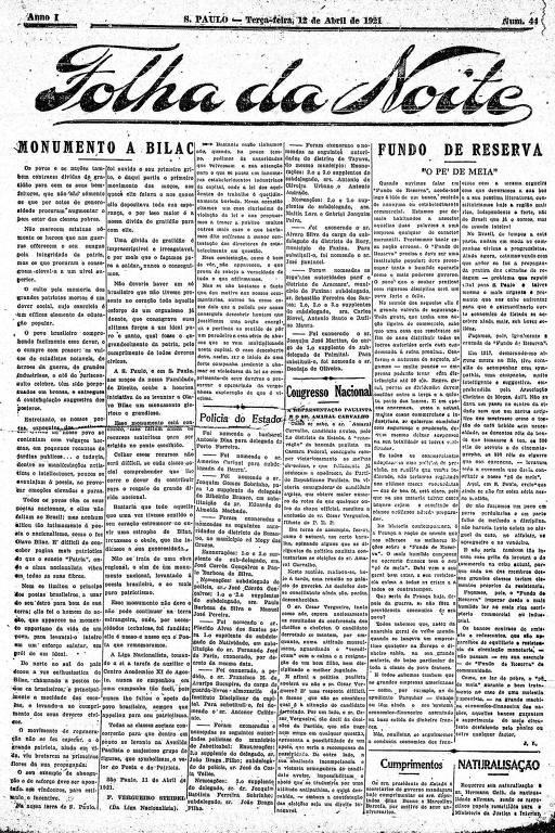 Primeira Página da Folha da Noite de 12 de abril de 1921