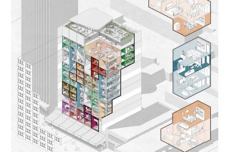 Projeto de prédio de escritórios convertido para o uso misto
