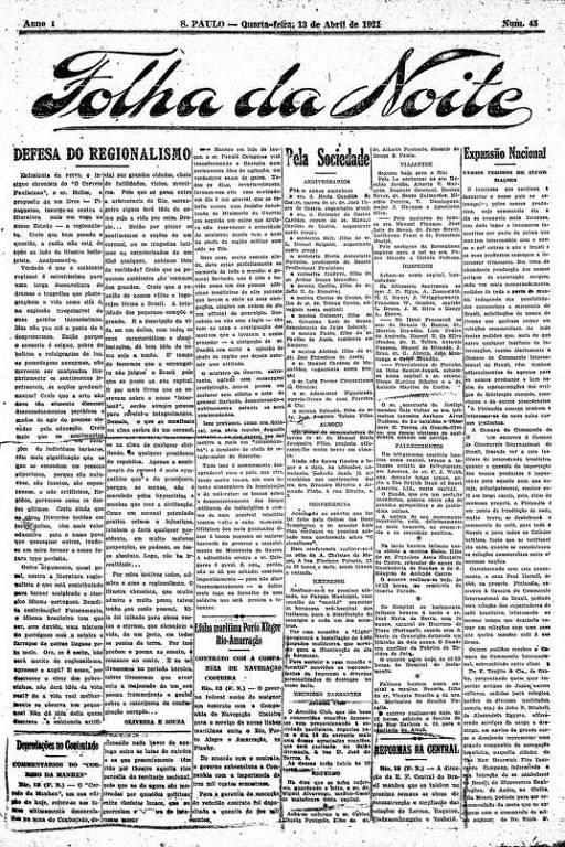 Primeira Página da Folha da Noite de 13 de abril de 1921