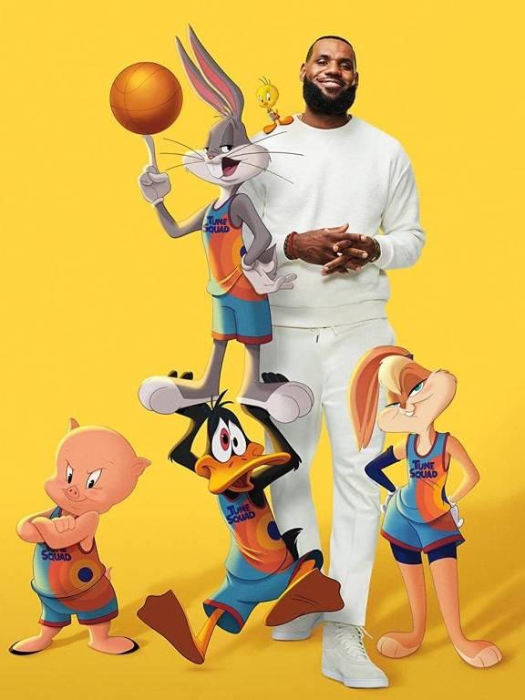 homem negro alto cercaod de personagens em desenho animado