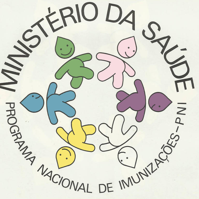 Página com fundo branco traz cinco Zé Gotinhas nas cores amarelo, roxo, rosa, verde, azul e branco, fazendo uma ciranda. Junto, as inscrições Ministério da Saúde e Programa Nacional de Imunizações - PNI