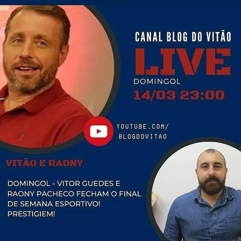 Convite para a Live do colunista Vitor Guedes com o narrador Raony Pacheco