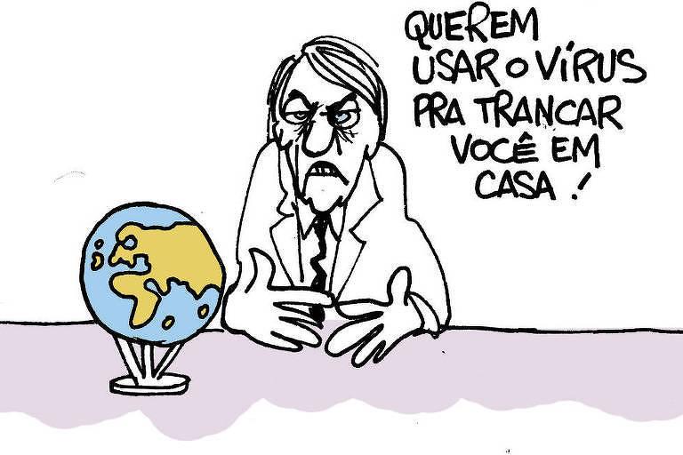 Charge de Laerte publicada na Folha mostra ilustração do presidente em crítica ao discurso contra lockdown