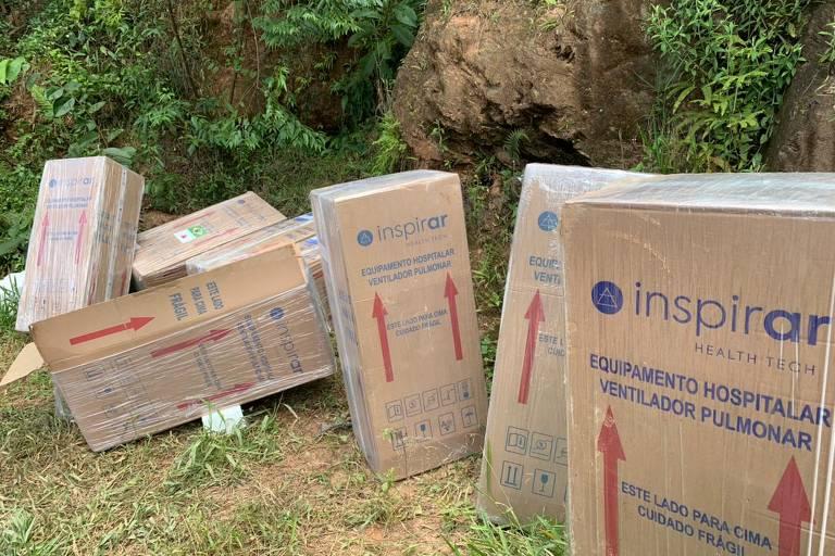 Carga de respiradores recuperada pela Polícia Militar em Ferraz de Vasconcelos