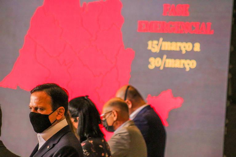 Equipe do governo Doria durante anúncio da fase emergencial da quarentena de São Paulo