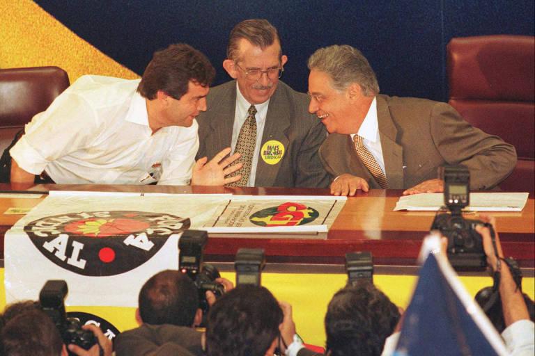 Na eleição presidencial de 1998, Paulinho da Força, Euclides Scalco e o presidente Fernando Henrique Cardoso