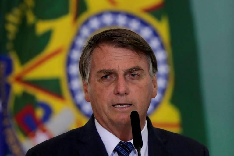 O presidente Jair Bolsonaro (sem partido) durante cerimônia no Palácio do Planalto