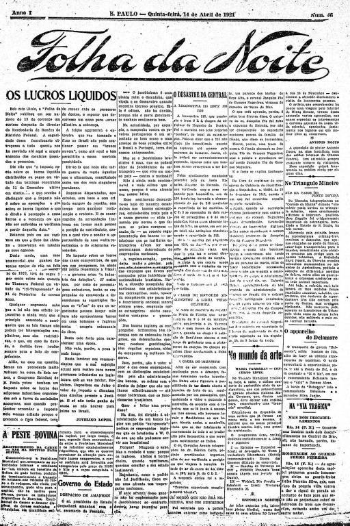 Primeira Página da Folha da Noite de 14 abril de 1921
