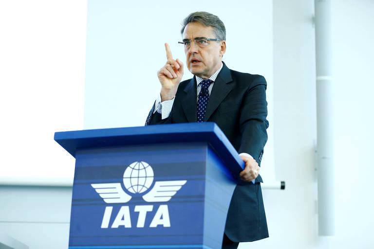 O diretor-geral e presidente da Iata, Alexandre de Juniac, durante evento em Genebra