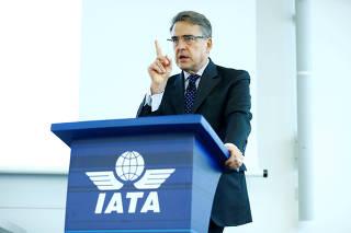 FILE PHOTO: IATA Director General Alexandre de Juniac speaks during the Global Media Day in Geneva
